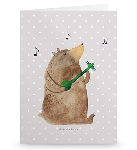 Mr. & Mrs. Panda Grußkarte Bär Gitarre - Bär, Bären, Teddy, Teddybär, Kuscheltier, Bärchen Grusskarte, Klappkarte, Einladungskarte, Glückwunschkarte, Hochzeitskarte, Geburtstagskarte
