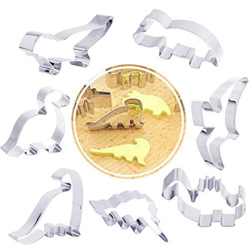 Chomang Ausstechformen in Dinosaurierform – 7er Set Plätzchen Ausstecher Keksaustecher für Halloween Weihnachten Ostern