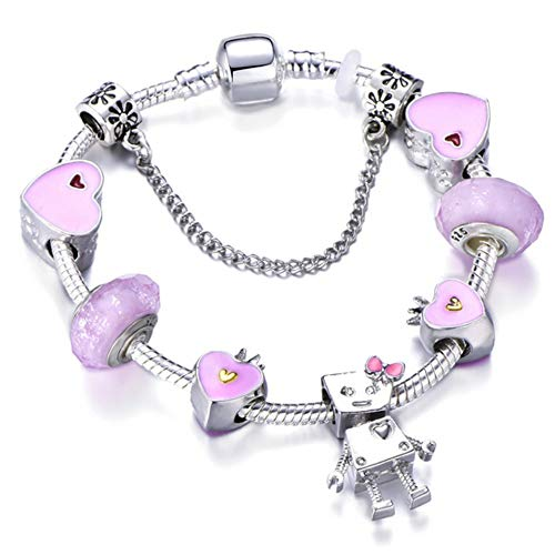 YOYOYAYA Tree of Life Charm Brand Bracelet Antique Silver Color Flower Beads Bracelets & Bangles Fashion Jewelry Gift,20Cm -
