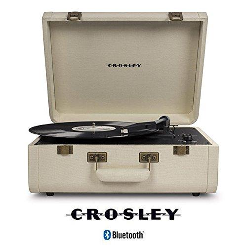 Crosley Portfolio Tragbarer Bluetooth Plattenspieler im Retro Design mit eingebautem Lautsprecher, Crème