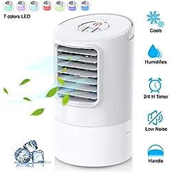 Climatiseur Portable, Refroidisseur d'air 4 en 1 Ventilateur de Climatisation Silencieux Mobile Mini Personnel Air Refroidisseur Humidificateur 3 Vitesses - 2/4h Timer Rapide à Utiliser - 7 Couleurs