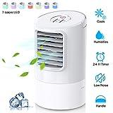 Climatiseur Portable, Refroidisseur d'air 4 en 1 Ventilateur de Climatisation Silencieux Mobile Mini...