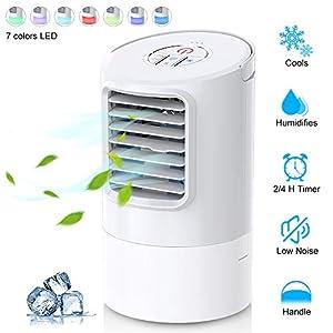 Mini Enfriador de Aire Acondicionado Humidificador Portátil, Climatizador Evaporativo, con Temporizador Silencioso…