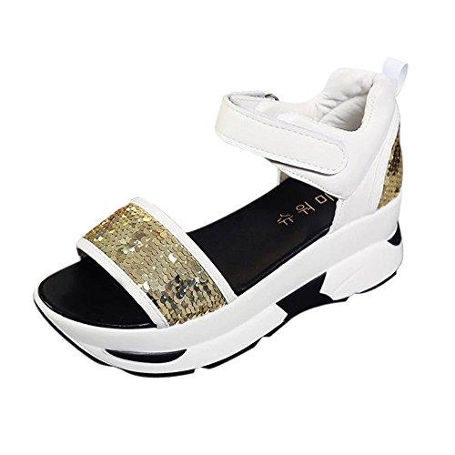 Longra Donna Muffin fondo sandali Paillettes della piattaforma Oro