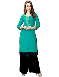Clothfab Women's Reyon Cotton Embroidered Party Wear Kurti (Rama-Color)