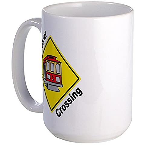 CafePress - Streetcar Crossing Sign - Coffee Mug, Large 15 oz. White Coffee Cup