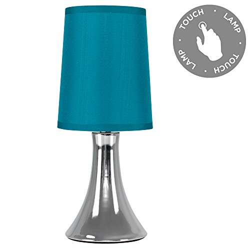 Teal table lamp amazon modern chrome trumpet touch table lamp with turquoise teal fabric shade mozeypictures Image collections