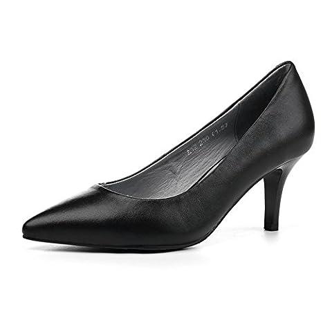 talons hauts,femmes noires-inclinées et les chaussures de la lumière-bouche,chaussures professionnelles-A Longueur du pied=22.3CM(8.8Inch)