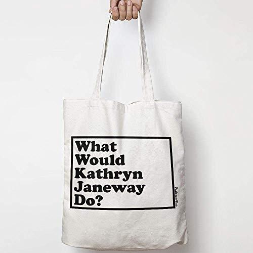 WHAT WOULD KATHRYN JANEWAY DO? WWYD tote bag in tela di cotone naturale STAR TREK 10
