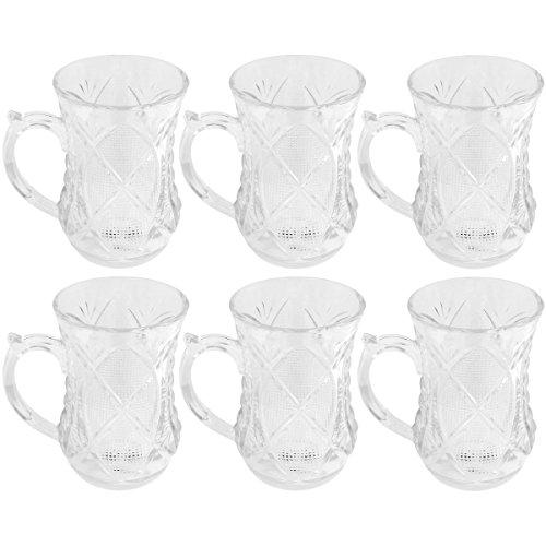 Promobo - Set Ensemble Coffret Cadeau 6 Tasses Design Oriental A Café Thé Verre Aspect Cristal 150ml