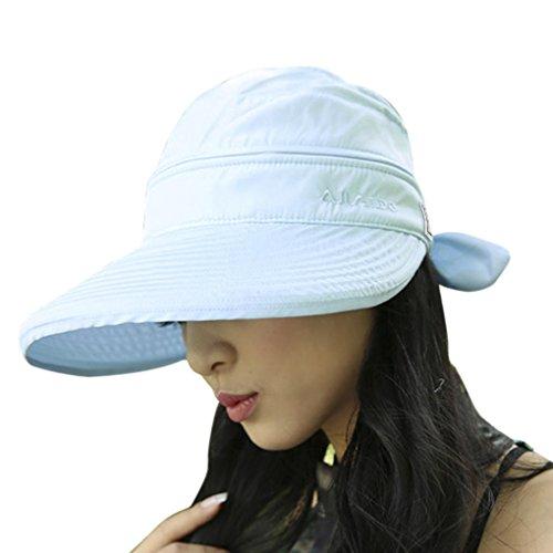 FakeFace Damen Mädchen Sonnenhut Faltbar Sommerhut Strandhut Sonnenschutz Hüte Breite Krempe Hut Kappe aus Baumwolle Anti-UV Blau Cowboy-hut Und Schleier