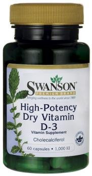 Swanson High Potency Dry Vitamin D-3 (1,000IU, 60 Capsules) from Swanson Health Products