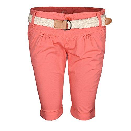 Fresh Made Damen Short Sommer kurze Hose Chino Shorts inkl. Bermuda Gürtel B458 Mittel-Orange