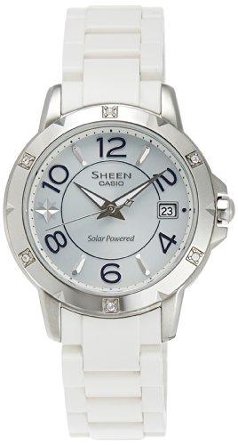 Casio Women's Sheen SHE4025SB-7A Silver Resin Quartz Watch with Silver Dial