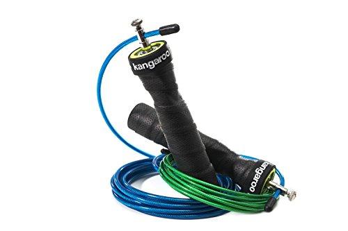 ⭐ Kangaroo Fitness ⭐ - Speed Rope Springseil von höchster Qualität - langlebige Bauweise & ergonomische Anti-Rutsch Handgriffe sowie Bonus Trainingsplan & extra Seil