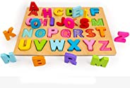 AMERTEER Alphabet Numbers Shapes Blocks Early Learning Puzzle   Wooden ABC Letters Colorful Educational Puzzle