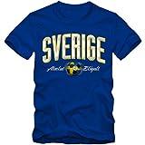 Herren Fußball T-Shirt Sverige Sweden Schweden Blågult Football EM Trikot, Farbe:blau;Größe:L