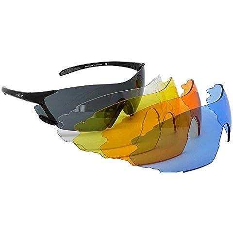 WrApz Peloton Shooter archery intercambiabili occhiali da sole–nero TR90Flex Telaio con 5paia di lenti, colore: blu, giallo, arancione e trasparente fumo–Ideall per la ripresa e tiro con l'