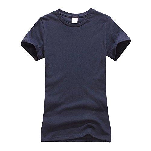 Femmes Couleur unie Courtes T-shirt -Top Décontracté Tee Shirt Marine