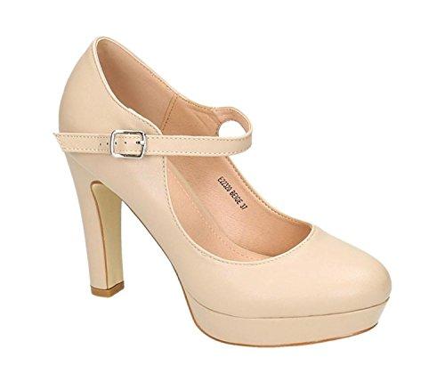 Klassische Trendige Damen Mary Jane Riemchen Pumps Stilettos Party High Heels Plateau Schuhe Bequem 20 (40, Beige) Block Heel Mary Jane Pump