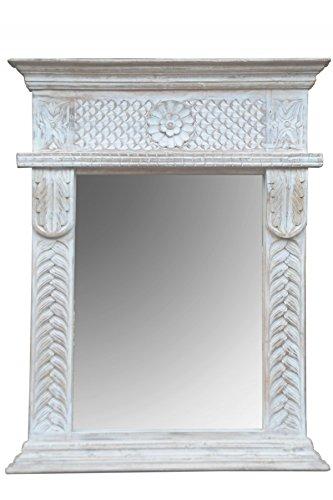 Orient Spiegel Wandspiegel Fahime 86cm groß Weiß | Großer Marokkanischer Flurspiegel | Holzrahmen...