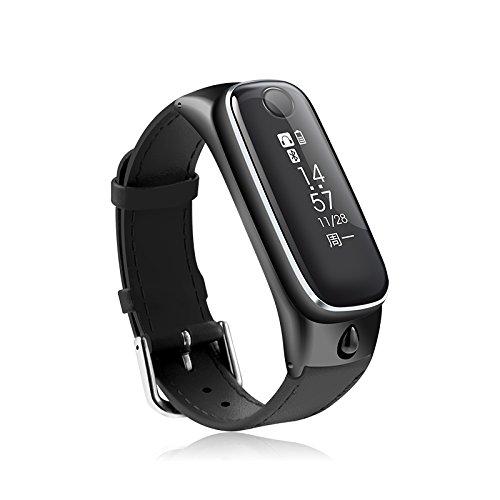 Smart Talk Armband Saphir Spiegel Zink Metall Leder StrapGAOXP (Farbe : Schwarz) Smart Talk Bluetooth