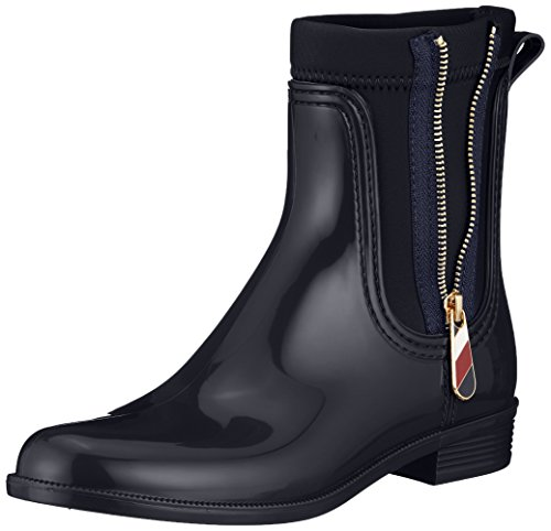 Tommy Hilfiger Damen Material Mix RAIN Boot Gummistiefel, Blau (Midnight 403), 37 EU
