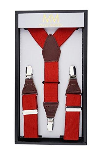 äger für Herren aus echtem Leder, längenverstellbare Echtleder Träger in klassischer Y - Form mit extra starken Clips, inkl. einer edlen Geschenkbox (Rot) (Chucks Outfits)