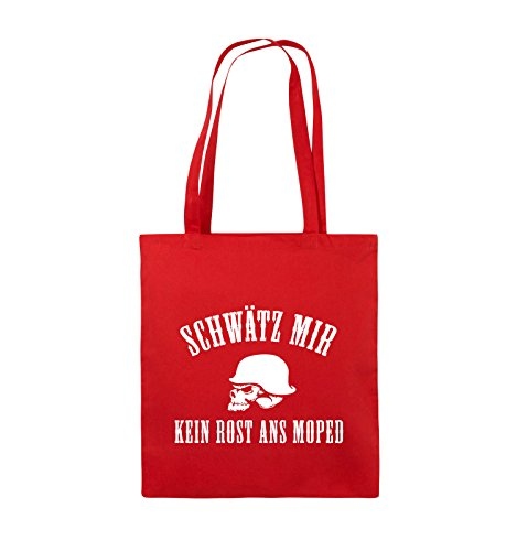 Comedy Bags - KEIN ROST ANS MOPED - HELM - Jutebeutel - lange Henkel - 38x42cm - Farbe: Schwarz / Silber Rot / Weiss