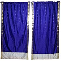 Mogul Interior 2 Indian Curtain Blue Indian Silk Sari Window Treatment Brocade Border Drape Panel