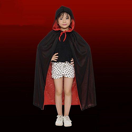 Halloween Kostüm Kinder Erwachsene Death Cloak Mit Cap Rot und Schwarz Doppelseitig ( Size : Child )