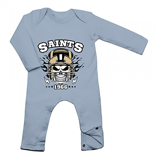 Skull Babybody | American Football | Totenkopf | Football-Helm | Langarm | Langärmliger Strampler, Farbe:Babyblau (Dusty Blue BZ13);Größe:3-6 Monate ()