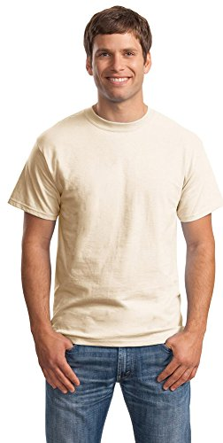 Hanes Mens Beefy-T Born to Be Worn 100% Cotton T-Shirt Natural