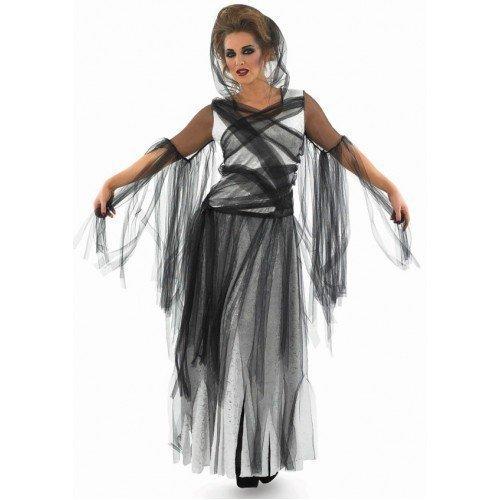 eiß lang Länge Haunting Geist tot Braut Halloween Kostüm 8-30 Übergröße - Schwarz, 12-14 (Tote Braut Halloween-kostüme)