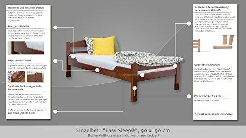 """Single bed """"Easy Sleep"""" K1/2n, solid beech wood, dark brown - 90 x 190 cm"""