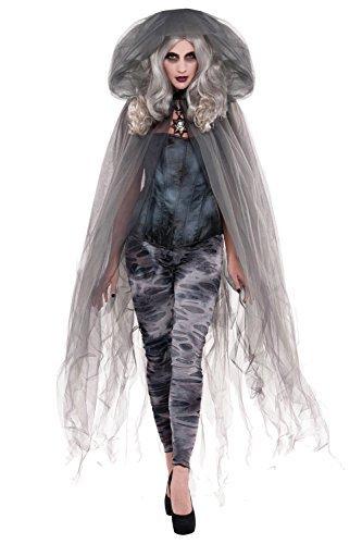 (Erwachsene Zombie Ghost Stories Umhang Halloween Damen Einheitsgröße Kapuzenumhang Kostüm)
