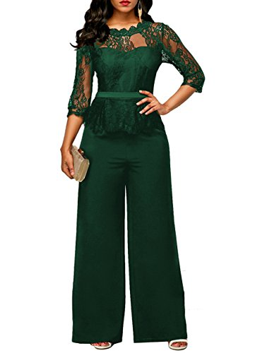 Lover-Beauty Damen Jumpsuit Schulterfrei Lang Hosen Overall Playsuit -