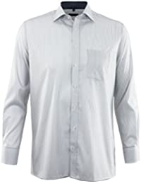 ETERNA Herren Langarm Hemd Modern Fit grau / weiß gestreift Brusttasche mit Patch 8628.33.X157