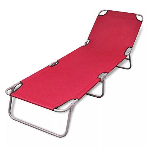 vidaXL Tumbona Silla Plegable Respaldo Ajustable Acero Playa Piscina Jardín Rojo