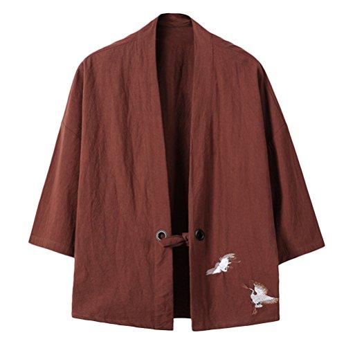 Zhuhaitf Kimono Herren Sommer Japan Happi Kimono V-Kragen Kimono-Jacke Men Women Unisex Embroidery Cloak Lightweight Breathable Open Front Coat M-4XL