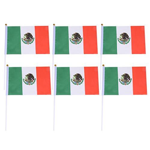 Toyvian 50 stücke Mexiko Stick Flagge Handheld Mini Flagge Vereinigten Staaten Welt Land Banner Sport Clubs Festival Events (Land Flagge Banner)