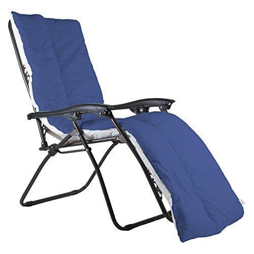 Topper Pad (Luxus Sonnenliege Auflage Topper Relax Pad Garten Terrasse, Made in UK, Marineblau)