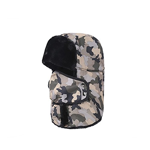 Z di P Winter Unisex Athletic & Outdoor Clothing Skiing & Snowboarding Keep Warm Wind proof Masks prova di Cold Water Proof Earflaps NECKER Chief Hat, Uomo, Yellow camouflage, Taglia unica