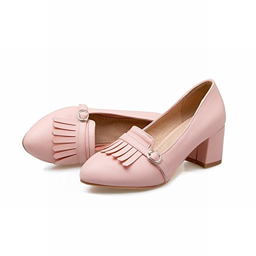 Mee Shoes Damen chunky heels Quaste Geschlossen Pumps Pink