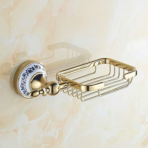 Xiang Europäische Seifenschale Seifenkorb Diamantchrom Wand hängen Seifenhalter Badzubehör, Gold