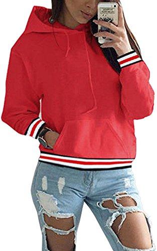 Hoodie Damen Oversize Rot Pullover Herbst Winter Kapuzenpullover Frauen Sweatshirt Jacke Rot Large