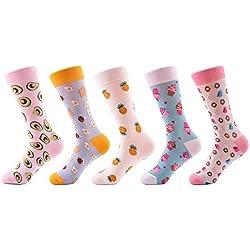 FHCGWZ 5pcs / Set Novedad Moda Peinado algodón Mujeres Calcetines patrón de Helado de piña Calcetines Divertidos Felices para niña