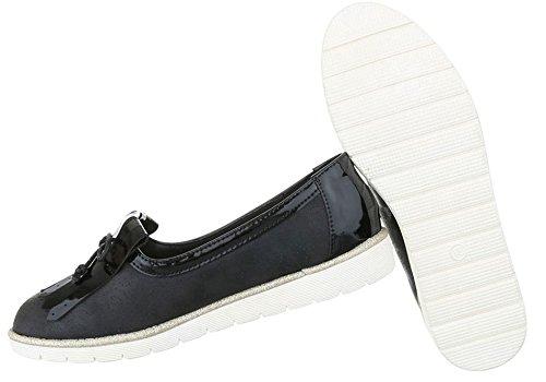 Damen Halbschuhe Schuhe Slipper Loafer Mokassins Flats Slip On Schwarz Beige Pink Silber 36 37 38 39 40 41 Schwarz