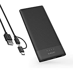 Omars Batterie Externe Portable 5000mAh Ultra Slim Fine 3 Ports USB C 5V 3A Entrée & Sortie, USB A 5V2.4A, Batterie de Secours Power Bank Anti-Déparante Anti-Trace pour iPhone iPad Samsung Huawei