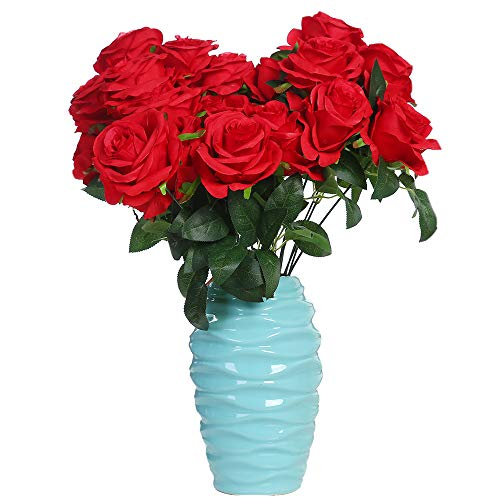 Rose Seide Rose Blumenstrauß Gefälschte Blume Hochzeit Dekoration Geburtstag Garten Party Blume Rot 9Blütenköpfe ()